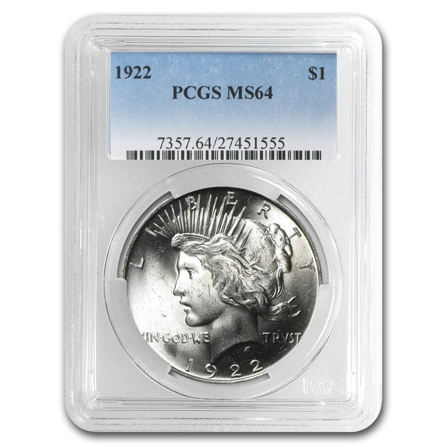 1922 Peace Dollar MS-64 PCGS