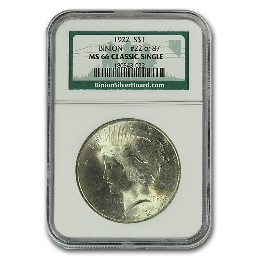 1922 Peace Dollar MS-66 NGC (Binion Collection)