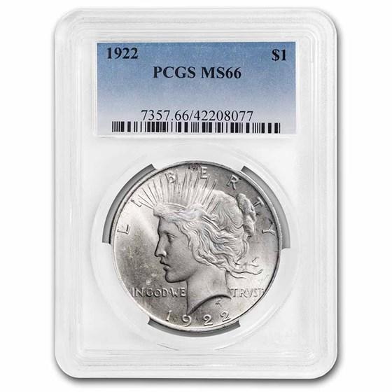 1922 Peace Dollar MS-66 PCGS