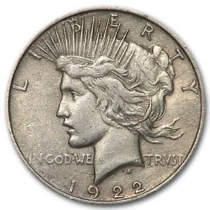 1922 Peace Dollar VF (Cleaned, VAM 2C Extra Hair, Top-50 LDS)