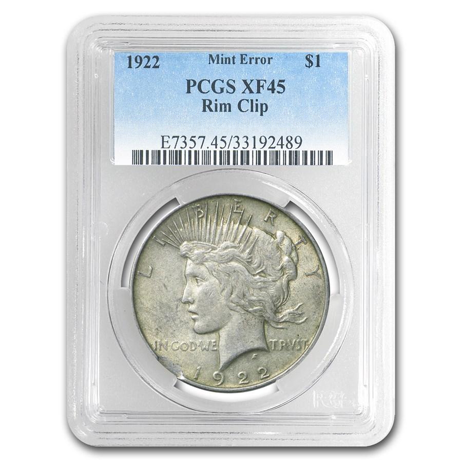 1922 Peace Dollar XF-45 PCGS (Rim Clip Mint Error)