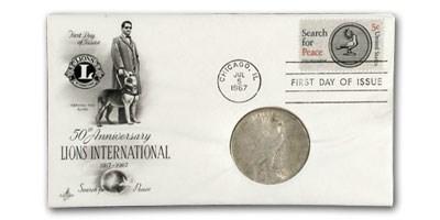 1922 Peace Dollar XF (Lions Club 50th Anniversary FDC)