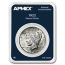 1922 Peace Silver Dollar APMEX Card AU
