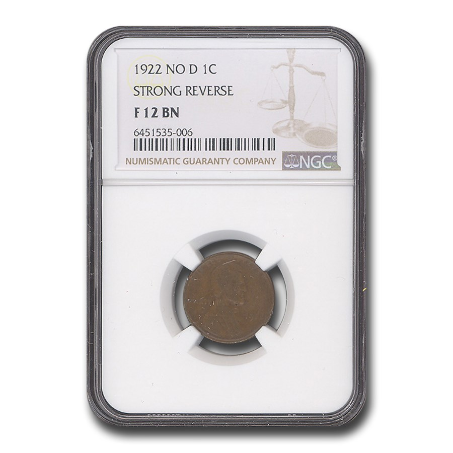 1922 Plain Lincoln Cent Fine-12 NGC (No D, Strong Rev)
