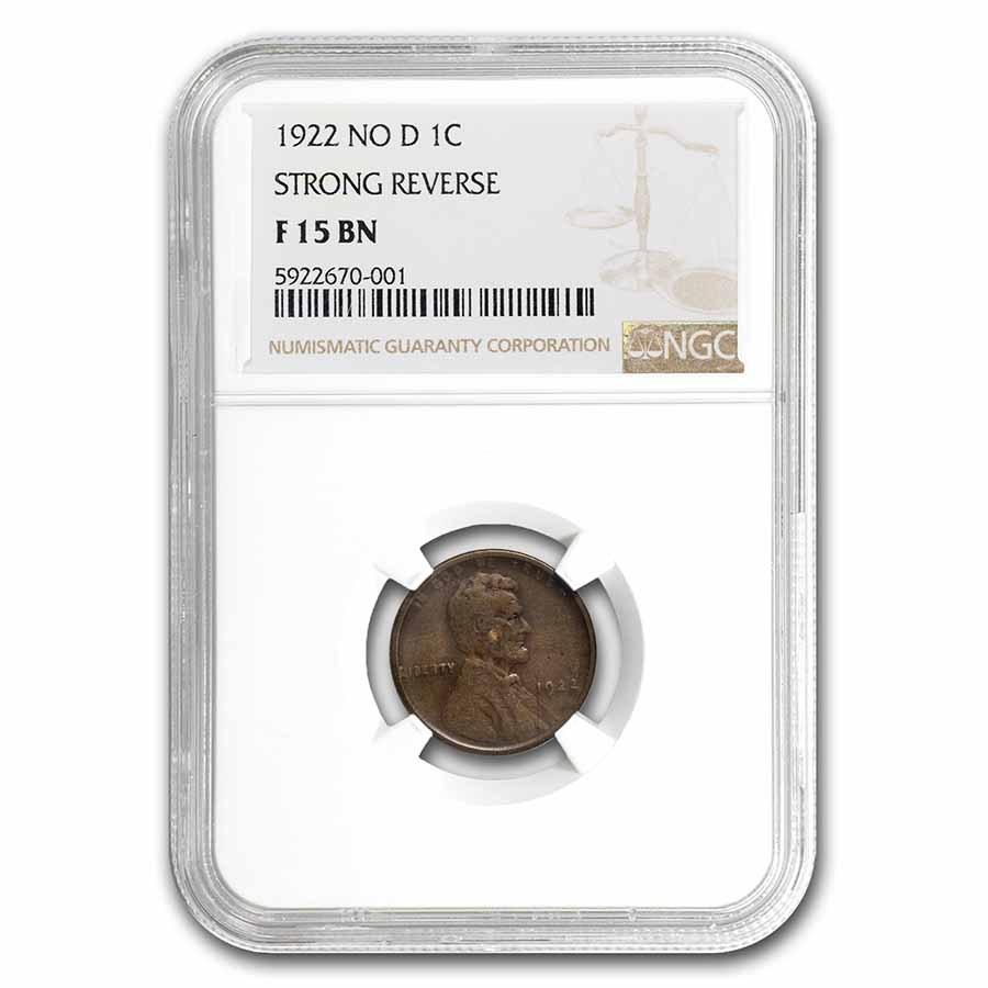 1922 Plain Lincoln Cent Fine-15 NGC (NO-D, Strong Rev)