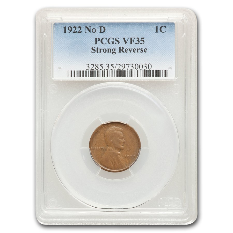 1922 Plain Lincoln Cent Strong Reverse VF-35 PCGS (Brown)