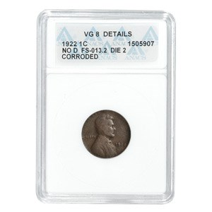 1922 Plain Lincoln Cent VG-8 Details ANACS (NO-D Variety)