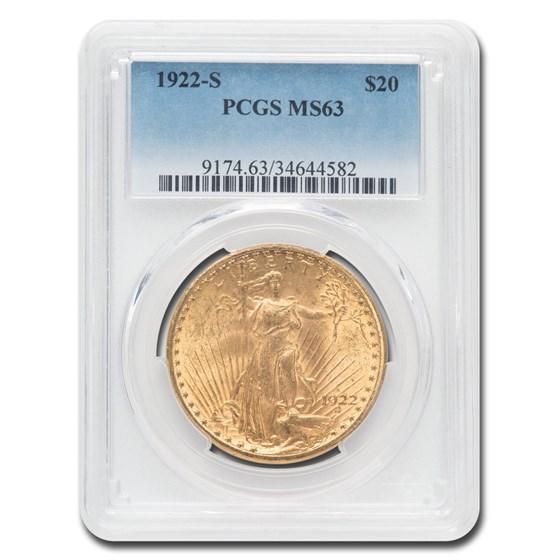1922-S $20 Saint-Gaudens Gold Double Eagle MS-63 PCGS