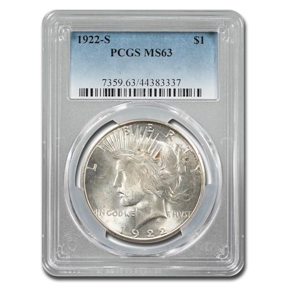 1922-S Peace Dollar MS-63 PCGS