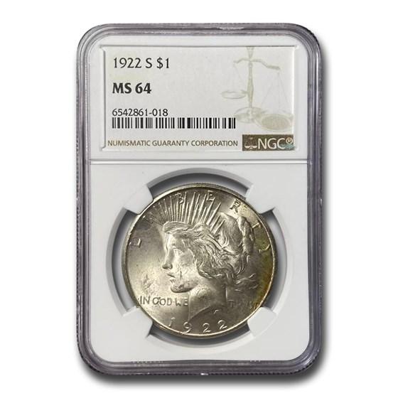 1922-S Peace Dollar MS-64 NGC