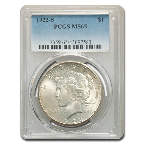 1922-S Peace Dollar MS-65 PCGS
