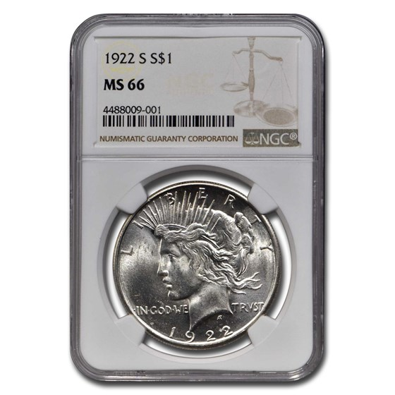 1922-S Peace Dollar MS-66 NGC