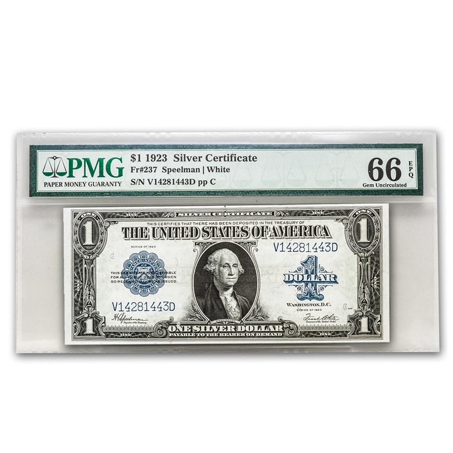 1923 $1.00 Silver Certificate CU-66 PMG