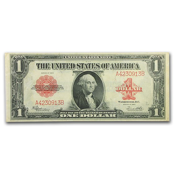 1923 $1.00 United States Note Red Seal AU