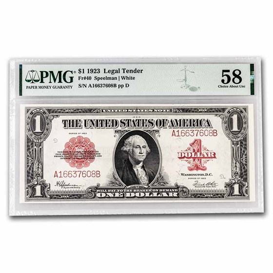 1923 $1.00 United States Note Red Seal CH AU-58 PMG (Fr#40)