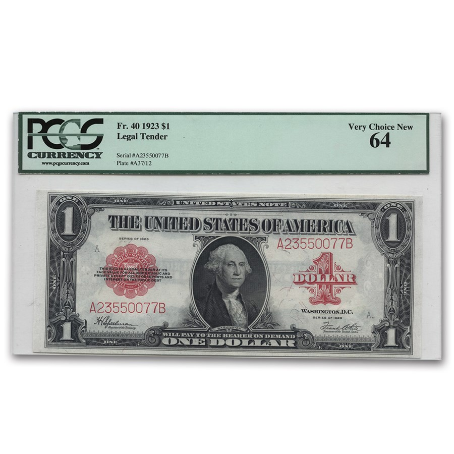 1923 $1.00 United States Note Red Seal Ch CU-64 PCGS