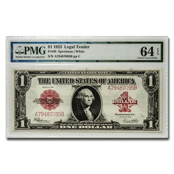 1923 $1.00 United States Note Red Seal Gem CU-64 EPQ PMG