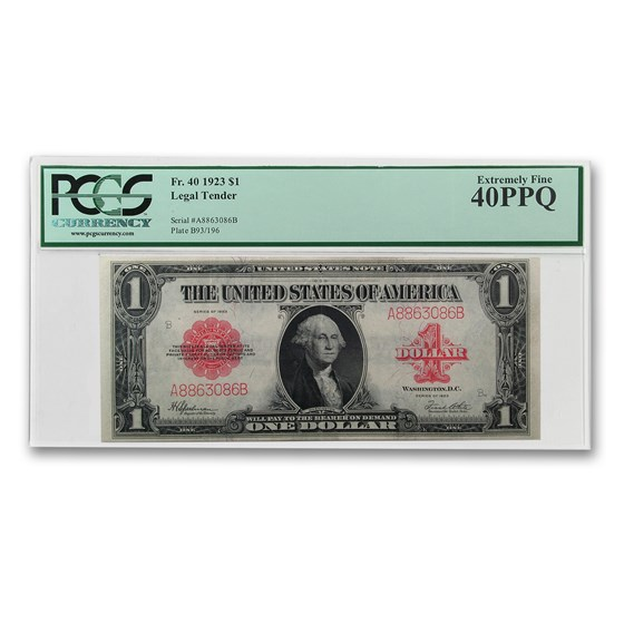 1923 $1.00 United States Note Red Seal XF-40 PPQ PCGS