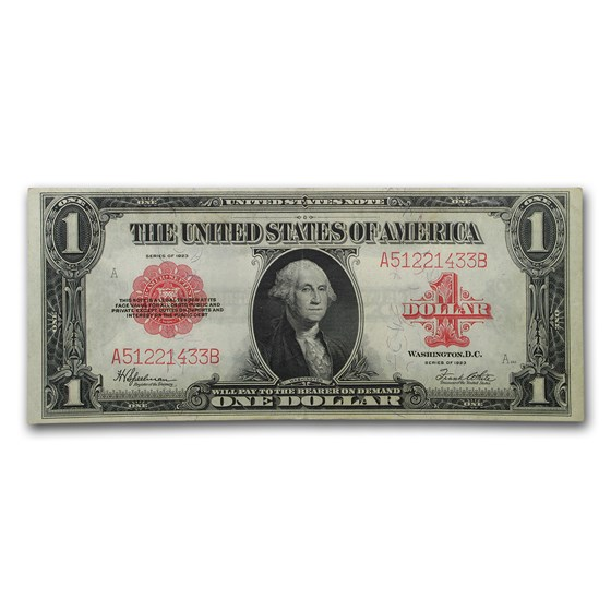 1923 $1.00 United States Note Red Seal XF (Fr#40)