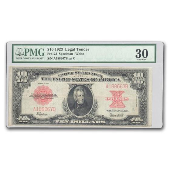 1923 $10 U.S. Note Red Seal VF-30 PMG (Fr#123) Poker Chip
