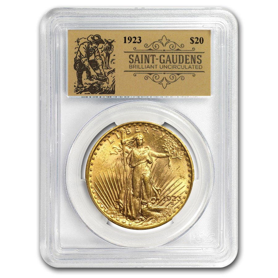 1923 $20 Saint-Gaudens Double Eagle BU PCGS (Prospector Label)