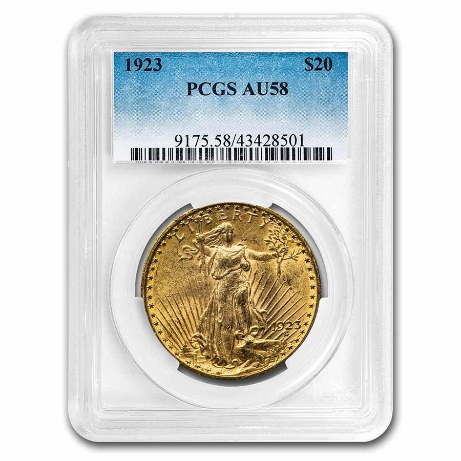 1923 $20 Saint-Gaudens Gold Double Eagle AU-58 PCGS