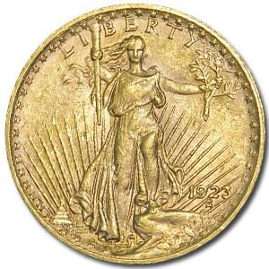 1923 $20 Saint-Gaudens Gold Double Eagle AU