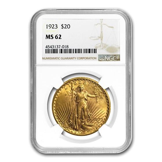 1923 $20 Saint-Gaudens Gold Double Eagle MS-62 NGC
