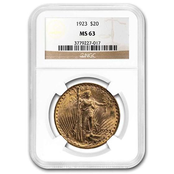 1923 $20 Saint-Gaudens Gold Double Eagle MS-63 NGC