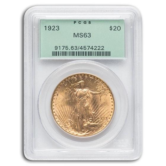 1923 $20 Saint-Gaudens Gold Double Eagle MS-63 PCGS