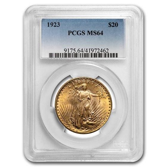 1923 $20 Saint-Gaudens Gold Double Eagle MS-64 PCGS