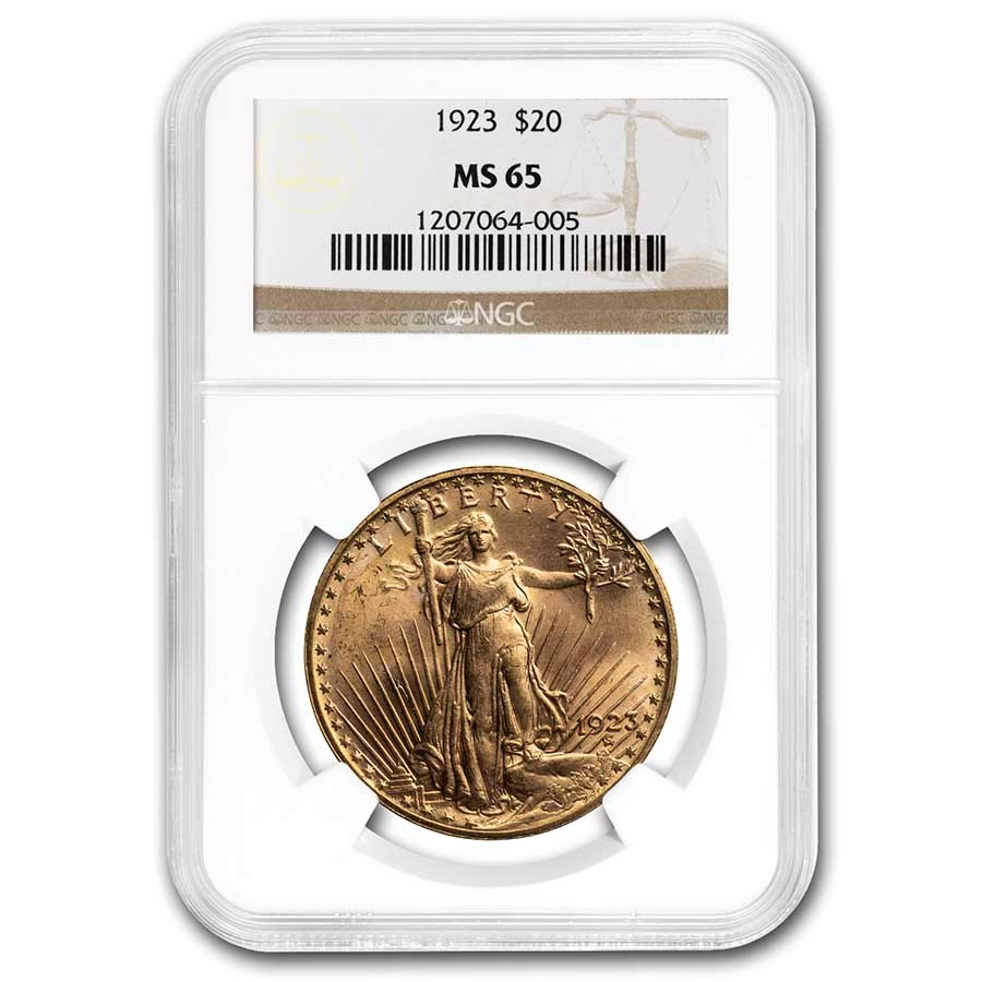 1923 $20 Saint-Gaudens Gold Double Eagle MS-65 NGC