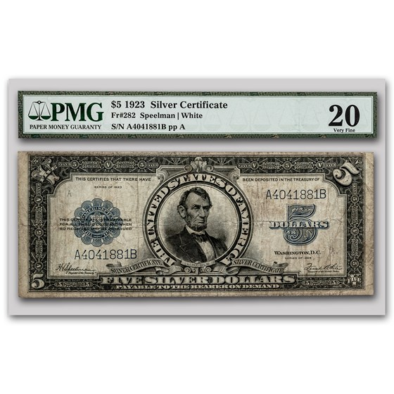 1923 $5.00 Silver Certificate Lincoln Porthole VF-20 PMG (Fr#282)