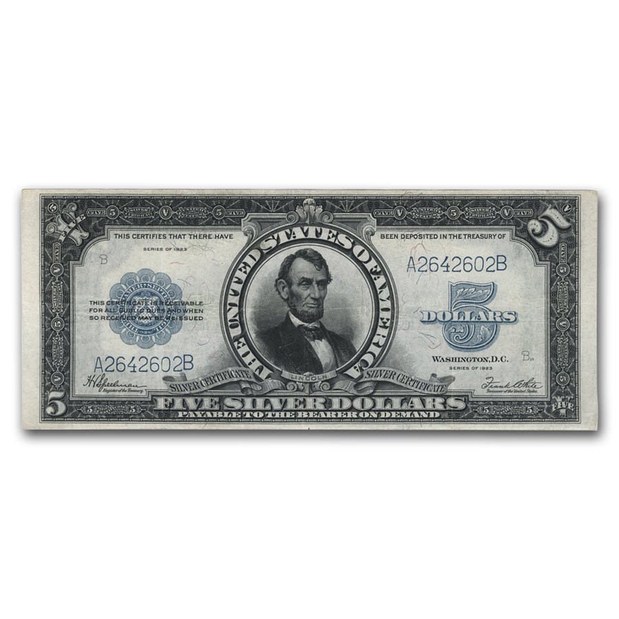 1923 $5.00 Silver Certificate Lincoln Porthole VF (Fr#282)