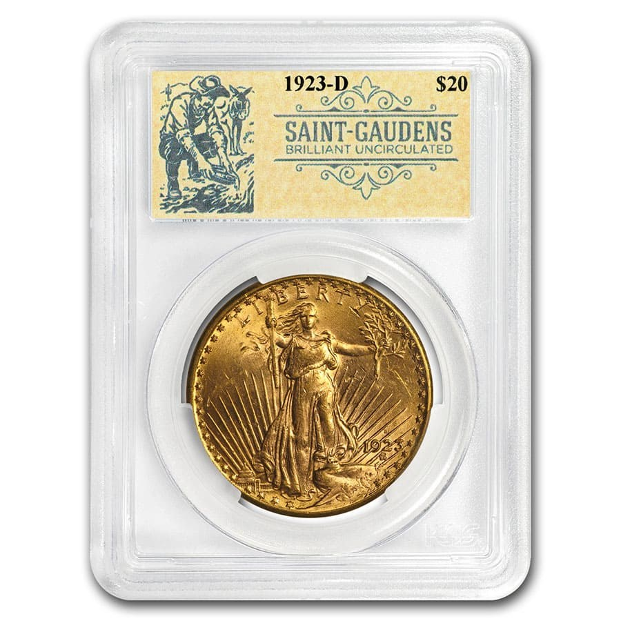 1923-D $20 Saint-Gaudens Double Eagle BU PCGS (Prospector Label)