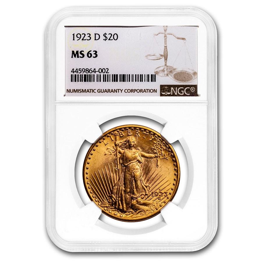 1923-D $20 Saint-Gaudens Gold Double Eagle MS-63 NGC