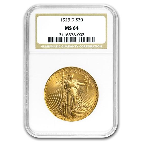 1923-D $20 Saint-Gaudens Gold Double Eagle MS-64 NGC
