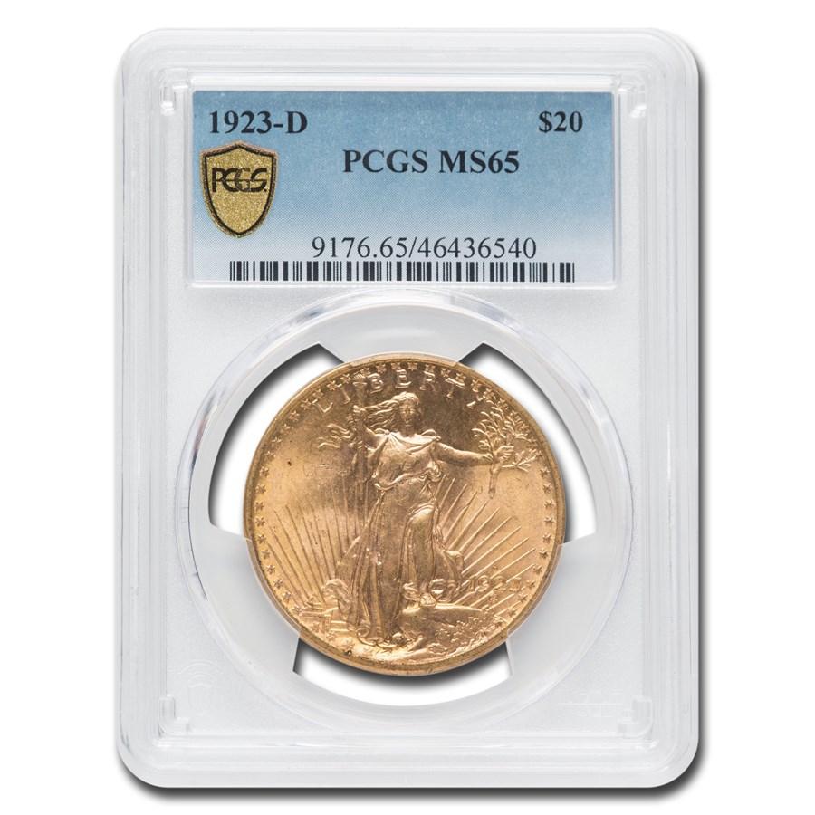 1923-D $20 Saint-Gaudens Gold Double Eagle MS-65 PCGS