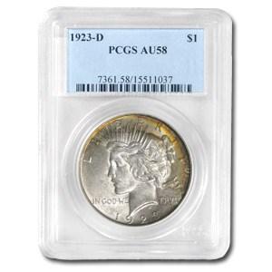 1923-D Peace Dollar AU-58 PCGS (Beautiful Toning)