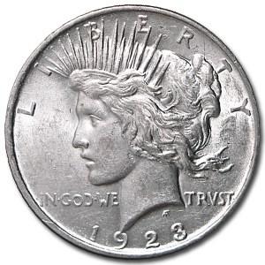 1923-D Peace Dollar AU-58