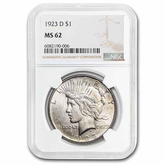 1923-D Peace Dollar MS-62 NGC