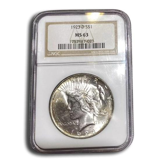 1923-D Peace Dollar MS-63 NGC