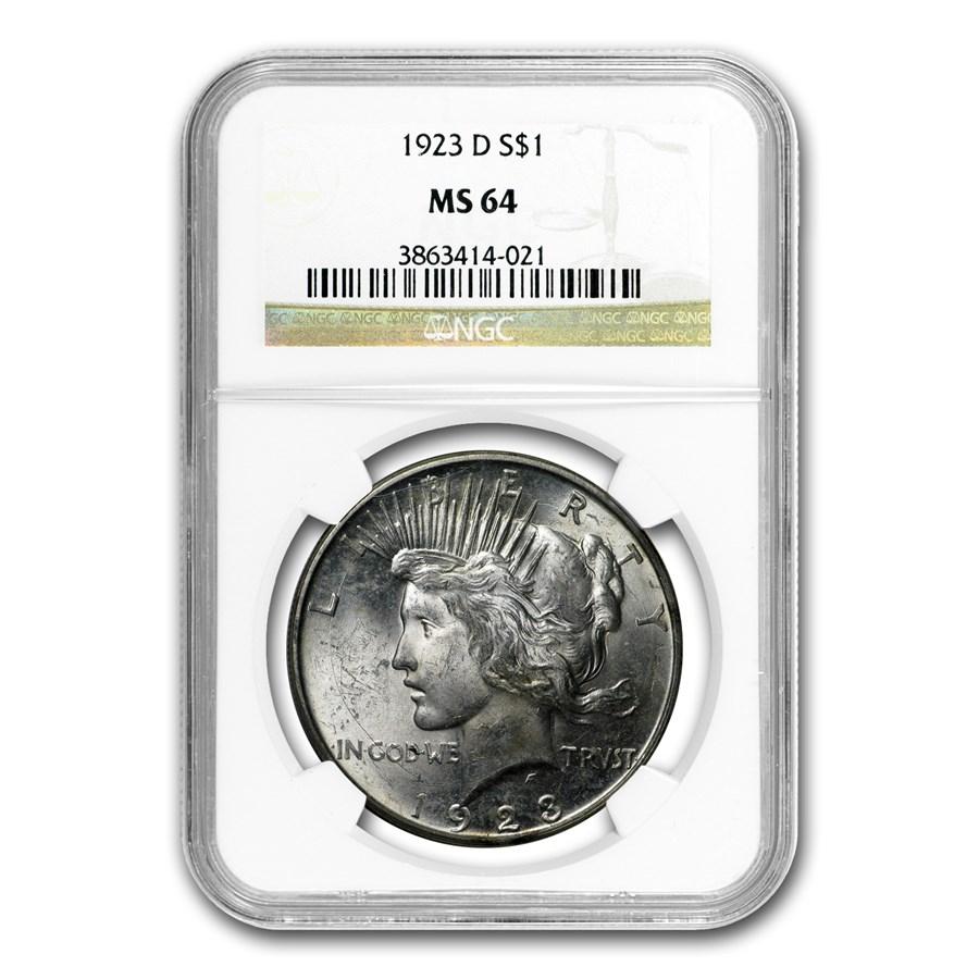 1923-D Peace Dollar MS-64 NGC