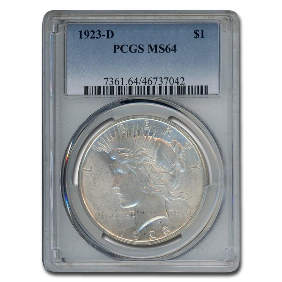 1923-D Peace Dollar MS-64 PCGS