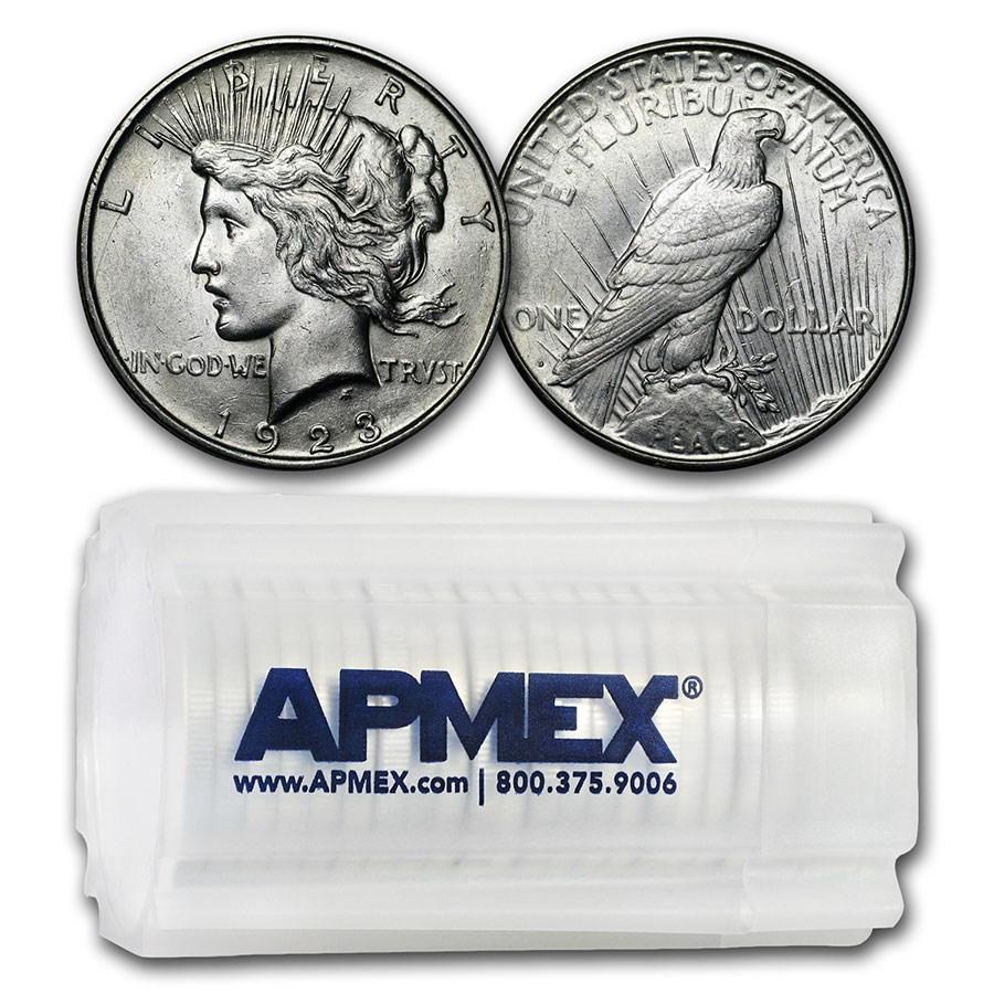 1923-D Peace Silver Dollars AU (20-Coin Roll)