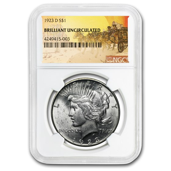 1923-D Stage Coach Peace Dollar BU NGC