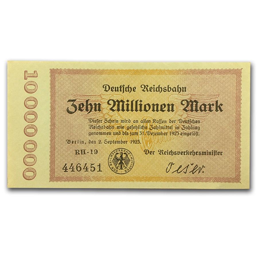 1923 Germany Weimar Republic 10 Million Mark Note