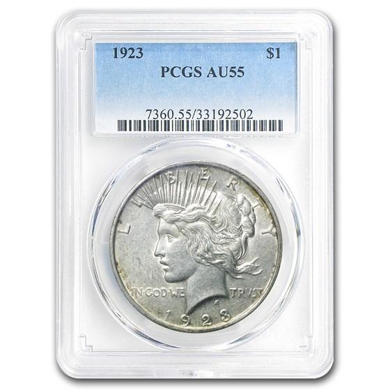 1923 Peace Dollar AU-55 PCGS (110 Degree CW Rotated Rev)