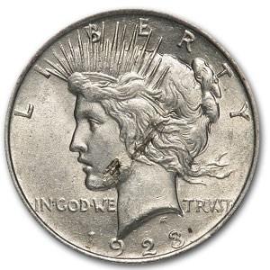 1923 Peace Dollar AU-58 (Lamination Mint Error)