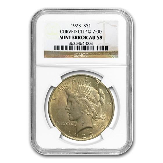 1923 Peace Dollar AU-58 NGC (Clipped Planchet Error)